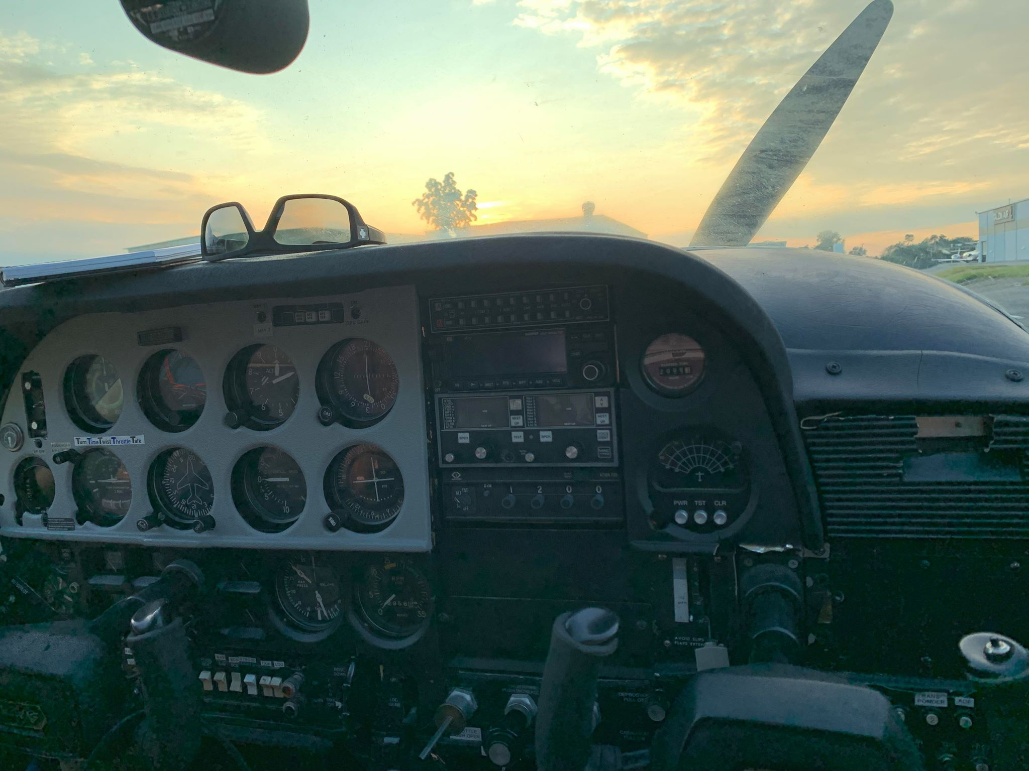 cockpit with sunset in background